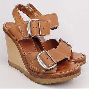 Chloe Sz 37 wooden wedge sandal leather straps